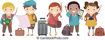 Stickman Kids Travelers Luggage Illustration