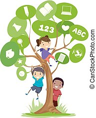 Stickman Kids Tree Speech Bubbles Illustration