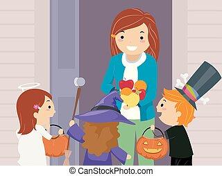 Stickman Kids Trick Or Treat Fruits Illustration