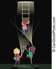 Stickman Kids Underground Ladder Flashlight