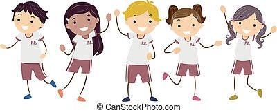 Stickman Kids Uniforms Illustration