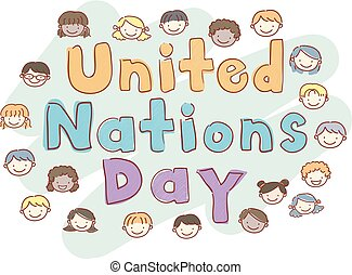Stickman Kids United Nations Day Illustration