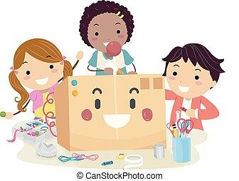 Stickman Kids Upcycle Box Mascot Illustration