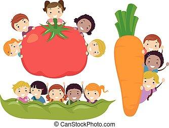 Stickman Kids Vegetable Border Illustration