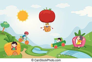Stickman Kids Vegetable Fantasy Land Illustration