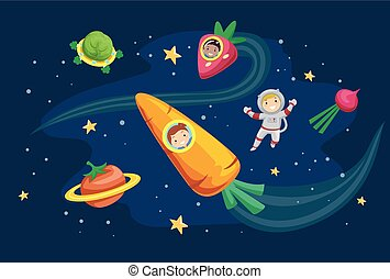 Stickman Kids Vegetable Outer Space Illustration