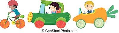 Stickman Kids Vegetable Rides Illustration