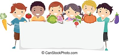 Stickman Kids Vegetables Banner Illustration
