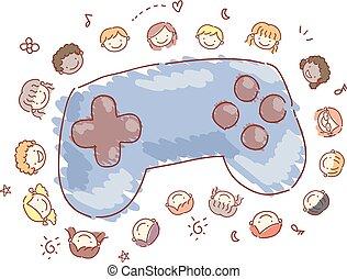 Stickman Kids Video Games Controller Illustration