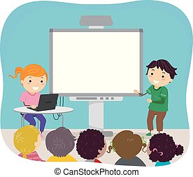 Stickman Kids Video Presentation Illustration