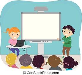 Stickman Kids Video Presentation Illustration