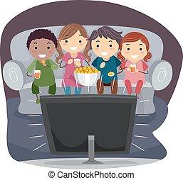 Illustration of Kids Eating Popcorn While Watching TV