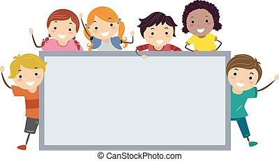 Stickman Kids Wave Blank Board Illustration