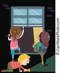 Stickman Kids Window Entering Illustration