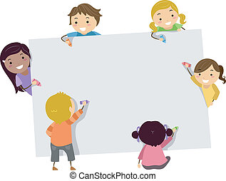 Stickman Kids with Crayons and Blank Board - Illustration of...