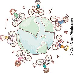 Stickman Kids World Eco Biking Illustration