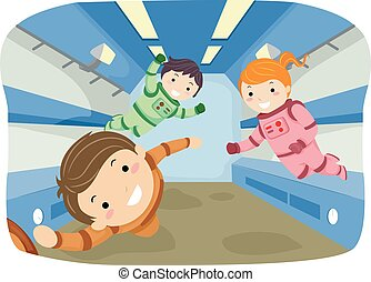 Stickman Kids Zero Gravity - Stickman Illustration of Kids...