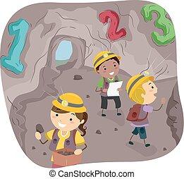 stickman, kinder, 123, höhle, abbildung