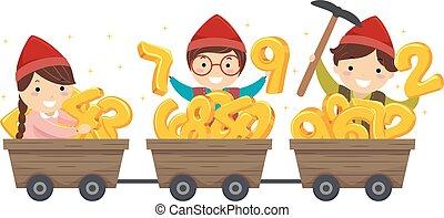 stickman, kinder, dwarves, gold, zahlen, abbildung