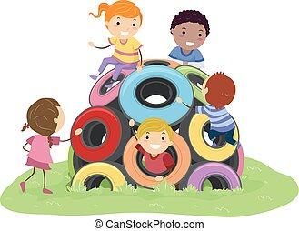 stickman, kinder, ermüden, kuppel, spielplatz, abbildung
