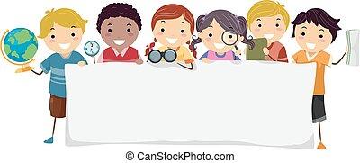stickman, kinder, geographie, banner, abbildung