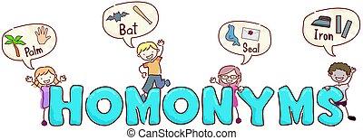stickman, kinder, homonyms