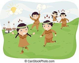 stickman, kinder, indische , rennender , abbildung