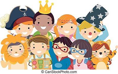 stickman, kinder, kostüm, tag, gruppieren foto