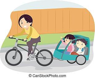 stickman, kinder, mutti, anhänger, fahrrad, abbildung