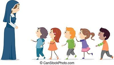 stickman, kinder, nonne, linie, abbildung