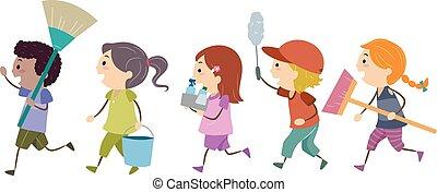 stickman, kinder, werkzeuge, auf, sauber