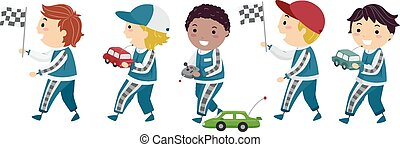 stickman, knaben, rennen autos