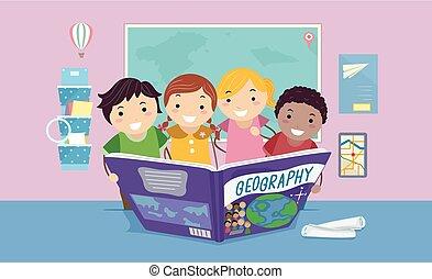 stickman, książka, klasa, geografia, ilustracja, dzieciaki