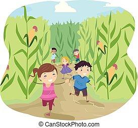 stickman, laberinto, maíz, niños, ilustración, corra