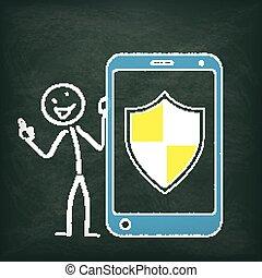 stickman, lavagna, smartphone, protezione, scudo