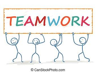 stickman, lavoro squadra