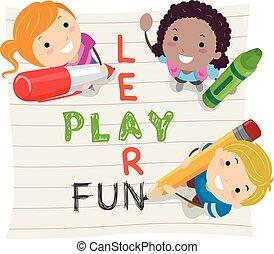 stickman, leren, geitjes, toneelstuk, plezier
