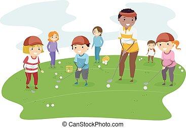 stickman, lição, crianças, golfe