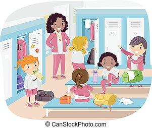 stickman, locker, meninas alojam