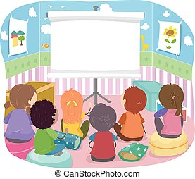 stickman, lugar crianças, projetor