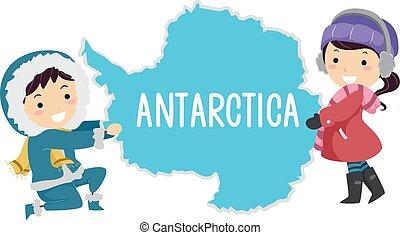 stickman, lurar, illustration, antarktis, kontinent