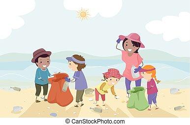 stickman, lurar, lärare, coastal, rensa upp i