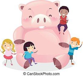 stickman, lurar, lycklig, piggy packa ihop, illustration