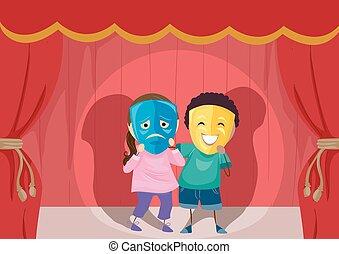 stickman, lurar, teater, trist, lycklig, maskera, illustration