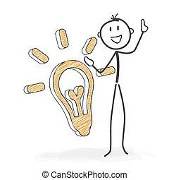 stickman, ma, figura, idea., -, wtykać, rysunek
