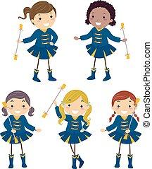 stickman, majorette, geitjes, meiden, illustratie