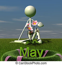 3d figure sitting on a meadow. this picture deals with the theme of may.