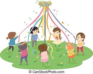 Stickman Maypole Girls - Stickman Illustration of Girls...