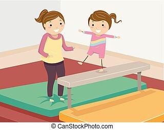 stickman, menina, ginástica, treinador, guia, criança