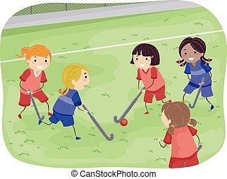 stickman, meninas, hóquei, campo